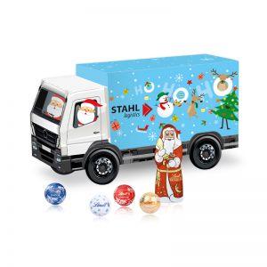 Weihnachts-Express LKW Lindt mit Werbebedruckung