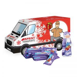 Weihnachts-Express Transporter Milka mit Werbebedruckung