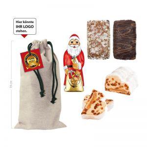 Weihnachts-Mix im Baumwollsäckchen mit individuellem Anhänger