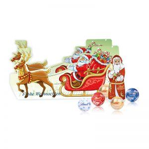 Weihnachtsschlitten Lindt Minis mit Werbedruck