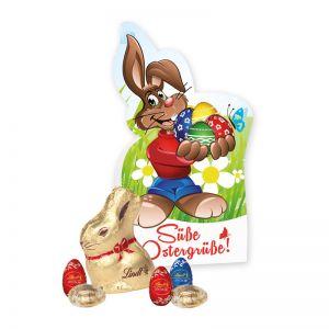 Werbe-Osterhase mit Goldhase und Eiern und mit Logodruck