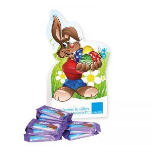 Werbe-Osterhase mit Milka Schoko-Naps und Logodruck