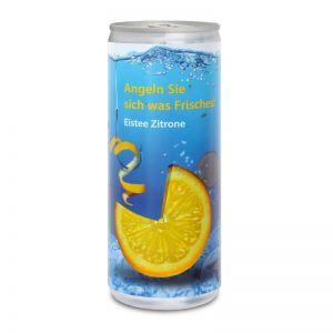 Werbegetränk Eistee Zitrone mit Logodruck