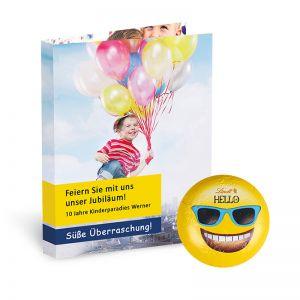 Werbekarte Lindt HELLO Mini Emoti mit Werbedruck