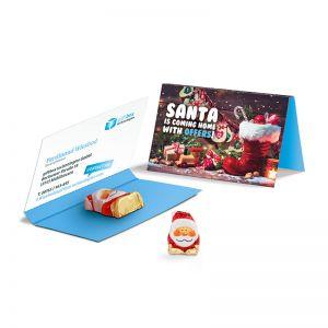 Werbekarte Schoko Weihnachtsmann mit Logodruck