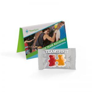 Werbekarte Team Gummibärchen mit Logodruck