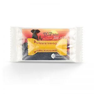 Werbeträger Toblerone mit Werbekarte und Logodruck