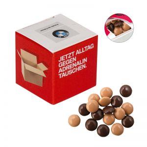 Werbewürfel mit Espresso-Linsen und Logodruck