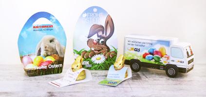 Süße Werbeartikel und Werbegeschenke zu Ostern. Oster Süßwaren mit Logo bedrucken und werben