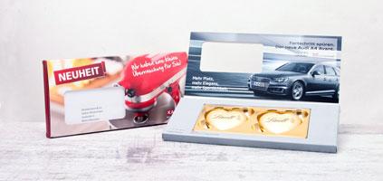 Mailing Werbemittel mit Süßwaren zur süßen Werbung. Süßwaren mit Logo bedrucken und effektiv in großer Stückzahl werben