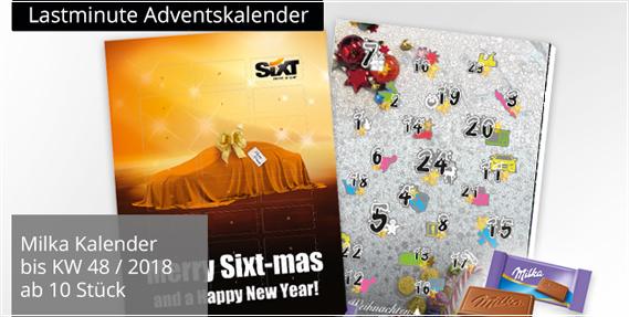 Werbe Adventskalender mit Füllungen aus Süßwaren zur süßen Werbung. Adventskalender mit Logo bedrucken und werben