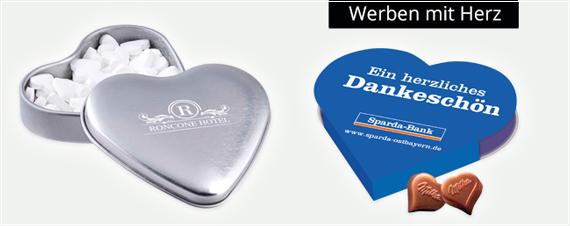 Herz Werbeartikel mit Logo bedrucken und werben