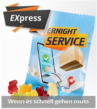 Express Werbemittel aus Süßwaren zur süßen Werbung. Last Minute Werbemittel mit schneller Lieferung. Süßwaren mit Logo bedrucken und werben