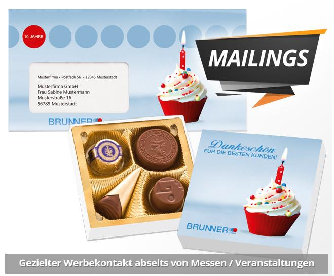 Mailing Werbemittel aus Süßwaren als Postwurfsendung. Mailing Werbemittel mit schneller Lieferung. Süßwaren mit Logo bedrucken und werben