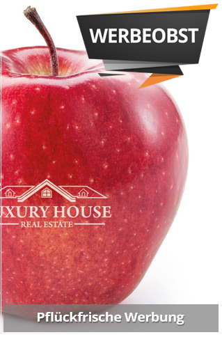 Obst Werbemittel oder Werbeobst hier gesund und lecker. Werbeobst mit Logo bedrucken und werben