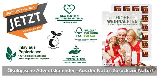 Nachhaltig Werben mit Adventskalendern mit Logodruck als Werbemittel für die Adventszeit